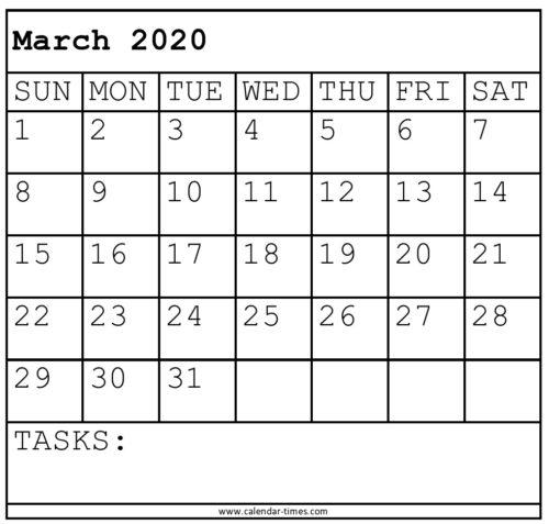 March 2020 Printable Calendar Worksheet