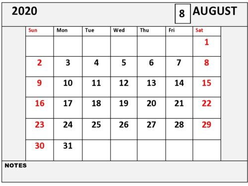 Free Printable August Calendar 2020