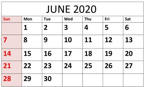 Printable June 2020 Calendar Times