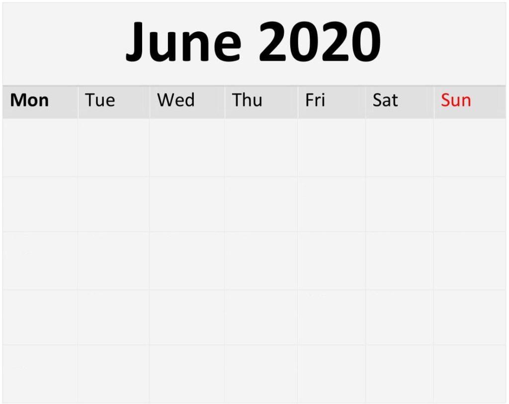 Blank June 2020 Calendar