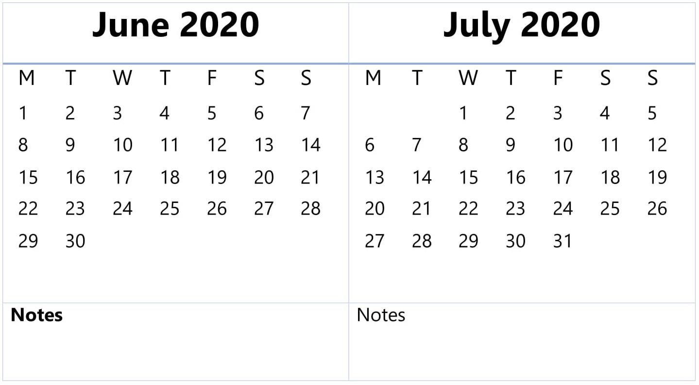 June July Calendar 2020