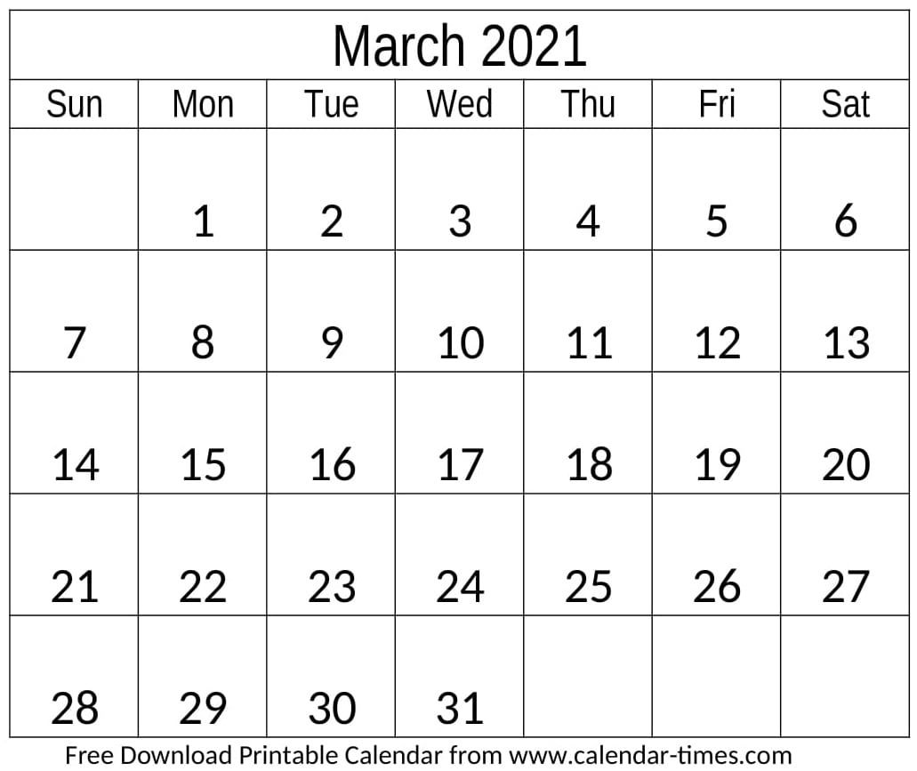 March Calendar 2021