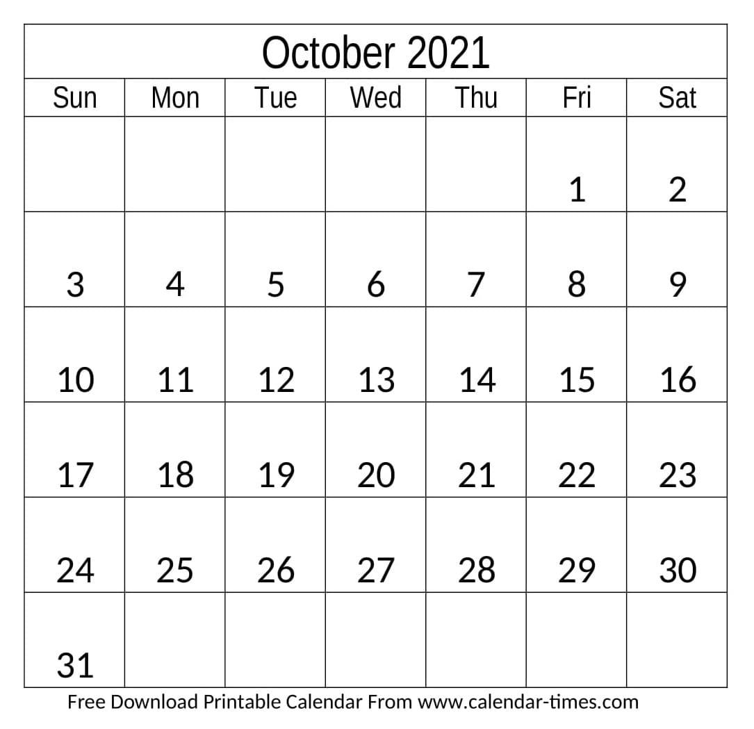 October 2021 Calendar Printable